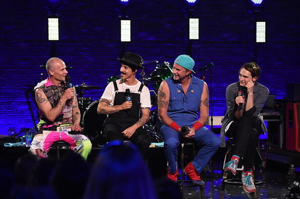 BURBANK, CA - MAY 26:  (L-R) Musicians Flea, Anthony Kiedis, Chad Smith and Josh Klinghoffer of Red Hot Chili Peppers speak onstage during their album release party on AT&T LIVE at iHeartRadio Theater on May 26, 2016 in Burbank, California.  (Photo by Kevin Winter/Getty Images for iHeartMedia)