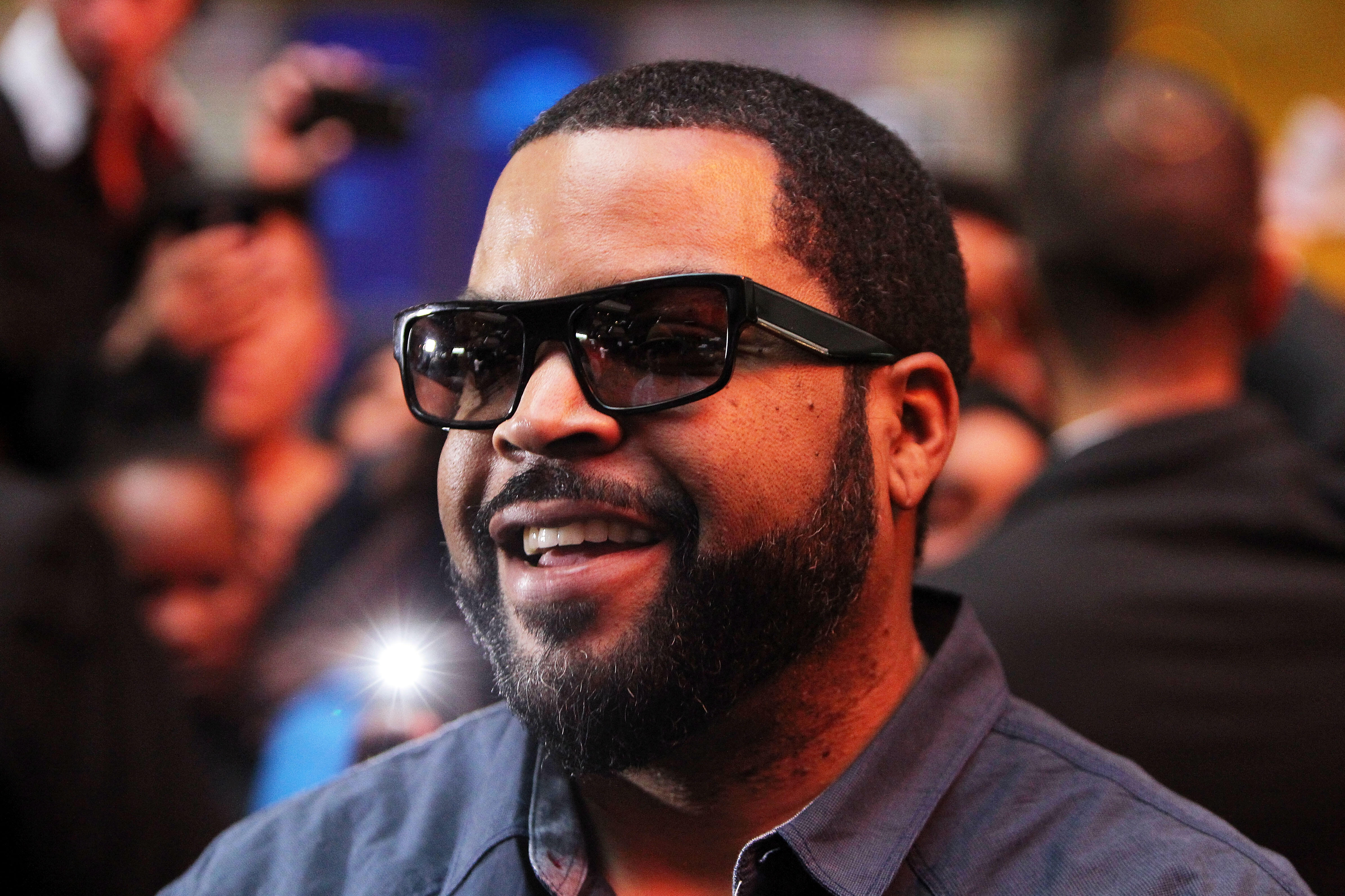MELBOURNE, AUSTRALIA - FEBRUARY 10:  Ice Cube smiles as he arrives ahead of the Ride Along 2 Australian Premiere at Hoyts Melbourne Central on February 10, 2016 in Melbourne, Australia.  (Photo by Graham Denholm/Getty Images)