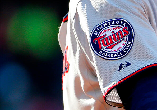 BOSTON, MA - June 4: The Minnesota Twins logo is seen during the fifth inning of the game against the Boston Red Sox at Fenway Park on June 4, 2015 in Boston, Massachusetts. (Photo by Winslow Townson/Getty Images)