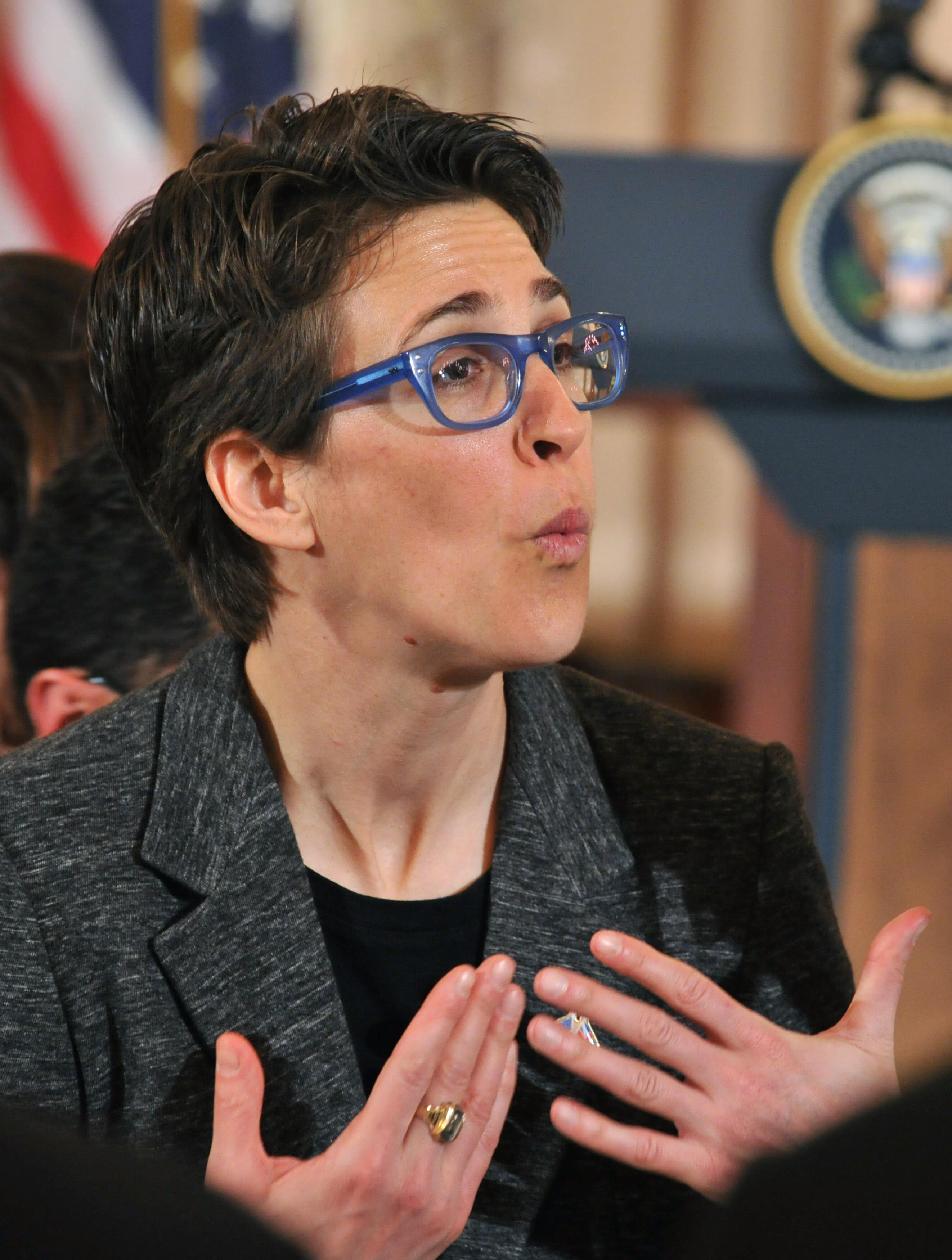 "Rachel Maddow, host of MSNBC's primetime hit, the critically acclaimed ""The Rachel Maddow Show,"" attends a luncheon hosted by US Secretary of State Hillary Clinton in honor of British Prime Minister David Cameron  March 14, 2012 at the State Department:    (KAREN BLEIER/AFP/Getty Images)"