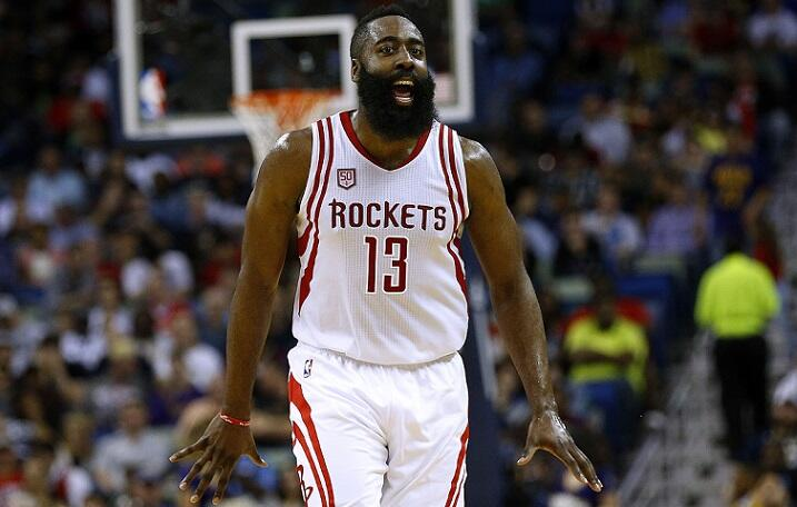 NEW ORLEANS, LA - FEBRUARY 23:  James Harden #13 of the Houston Rockets reacts during a game against the New Orleans Pelicans at the Smoothie King Center on February 23, 2017 in New Orleans, Louisiana. NOTE TO USER: User expressly acknowledges and agrees
