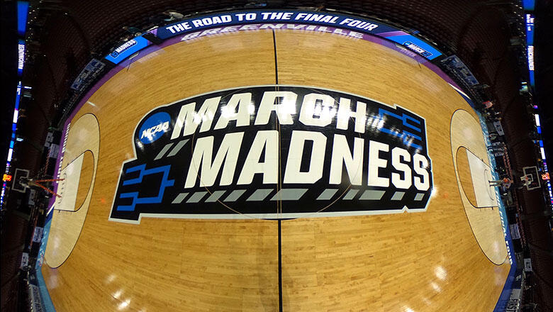 GREENVILLE, SC - MARCH 17: (EDITORS NOTE: Image is a digital panoramic composite.) A general view of the NCAA March Madness logo at center court during the first round of the 2017 NCAA Men's Basketball Tournament at Bon Secours Wellness Arena on March 17,