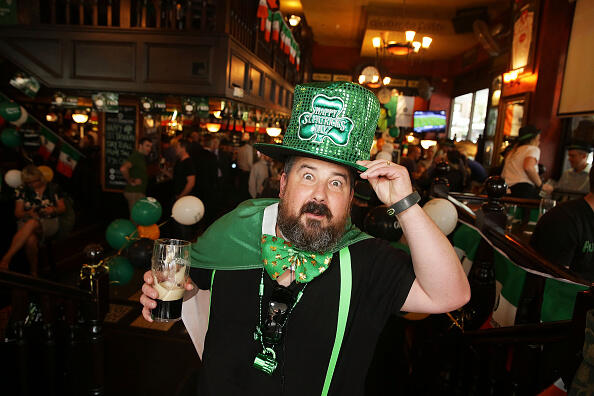 SYDNEY, AUSTRALIA - MARCH 17: A patron celebrates St Patrick's Day at P.J. O'Brien's Irish pub on March 17, 2015 in Sydney, Australia. March 17th commemorates Saint Patrick and the arrival of Christianity in Ireland, as well as celebrating Irish heritage and culture.  (Photo by Brendon Thorne/Getty Images)