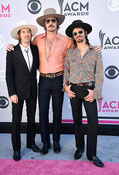 LAS VEGAS, NV - APRIL 02:  (L-R) Recording artists Jess Carson, Mark Wystrach, and Cameron Duddy of music group Midland attend the 52nd Academy Of Country Music Awards at Toshiba Plaza on April 2, 2017 in Las Vegas, Nevada.  (Photo by Frazer Harrison/Getty Images)