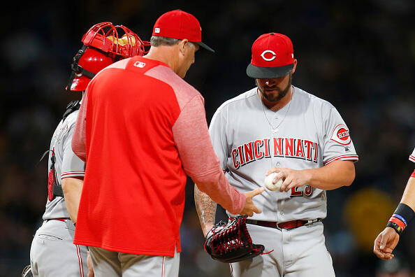 PITTSBURGH, PA - APRIL 10:  Brandon Finnegan #29 of the Cincinnati Reds is removed from the game by manager Bryan Price #38 in the third inning against the Pittsburgh Pirates at PNC Park on April 10, 2017 in Pittsburgh, Pennsylvania.  (Photo by Justin K. Aller/Getty Images)