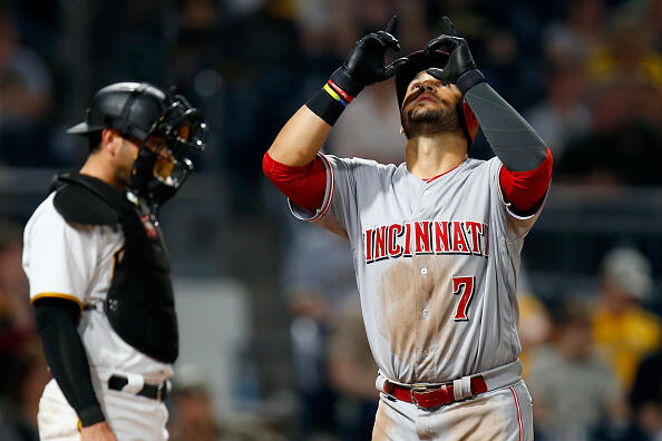 PITTSBURGH, PA - APRIL 10:  Eugenio Suarez #7 of the Cincinnati Reds reacts after hitting a home run in the fifth inning against the Pittsburgh Pirates at PNC Park on April 10, 2017 in Pittsburgh, Pennsylvania.  (Photo by Justin K. Aller/Getty Images)