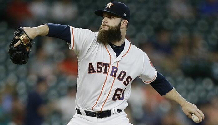 HOUSTON, TX - APRIL 19:  Dallas Keuchel #60 of the Houston Astros pitches in the first inning against the Los Angeles Angels of Anaheim at Minute Maid Park on April 19, 2017 in Houston, Texas.  (Photo by Bob Levey/Getty Images)