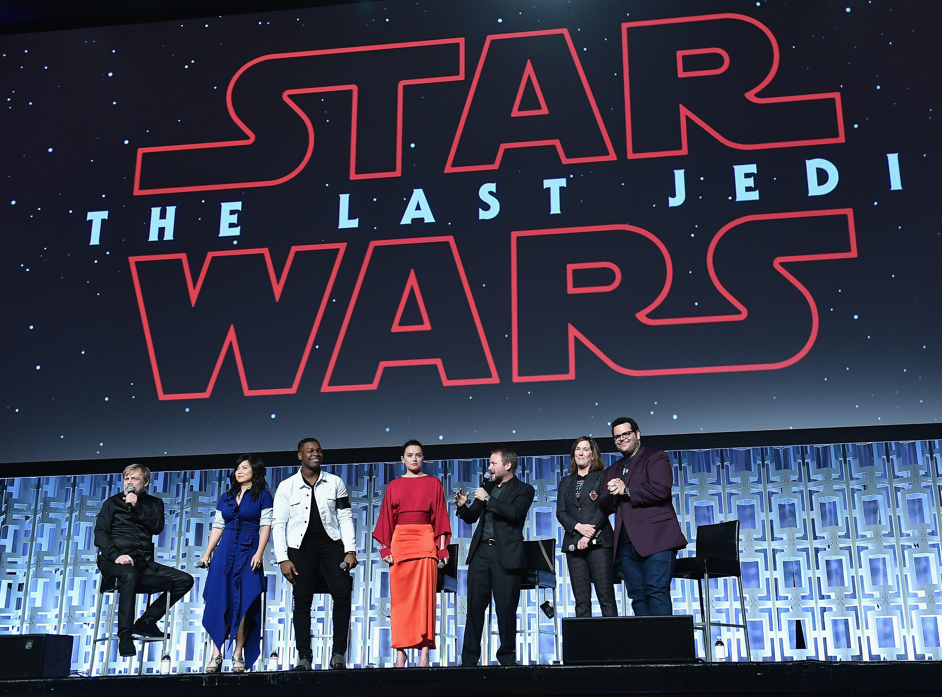 ORLANDO, FL - APRIL 14:  Mark Hamill, Kelly Marie Tran ,John Boyega, Daisy Ridley, Rian Johnson, Kathleen Kennedy and Josh Gad  attends the Star Wars Celebration day 02  on April 14, 2017 in Orlando, Florida.  (Photo by Gustavo Caballero/Getty Images)