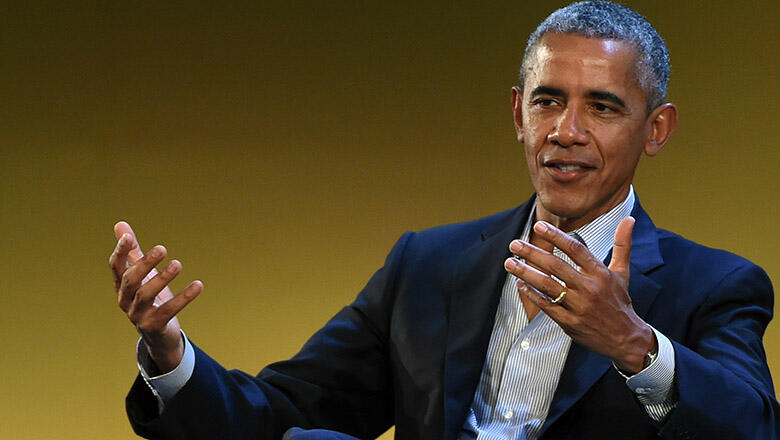 MILAN, ITALY - MAY 09:  Former US President Barack Obama speaks during the Seeds&Chips Global Food Innovation Summit on May 9, 2017 in Milan, Italy. The summit, which runs from May 8 until May 11, focuses on food innovation and discusses the urgent challe