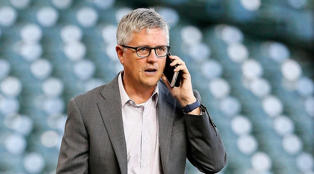 HOUSTON, TX - MAY 01:  Houston Astros general manager Jeff Luhnow talks on the phone before a game against the Texas Rangers at Minute Maid Park on May 1, 2017 in Houston, Texas.  (Photo by Bob Levey/Getty Images)