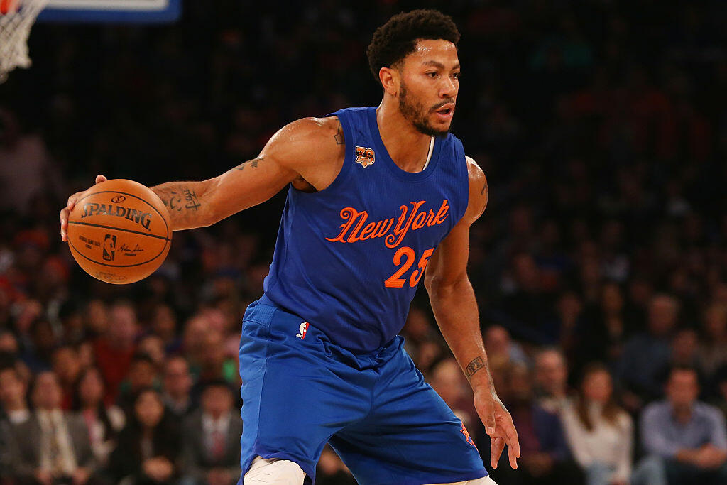 NEW YORK, NY - DECEMBER 25:  Derrick Rose #25 of the New York Knicks dribbles the ball against the Boston Celtics at Madison Square Garden on December 25, 2016 in New York City. NOTE TO USER: User expressly acknowledges and agrees that, by downloading and or using this photograph, User is consenting to the terms and conditions of the Getty Images License Agreement.  (Photo by Mike Stobe/Getty Images)