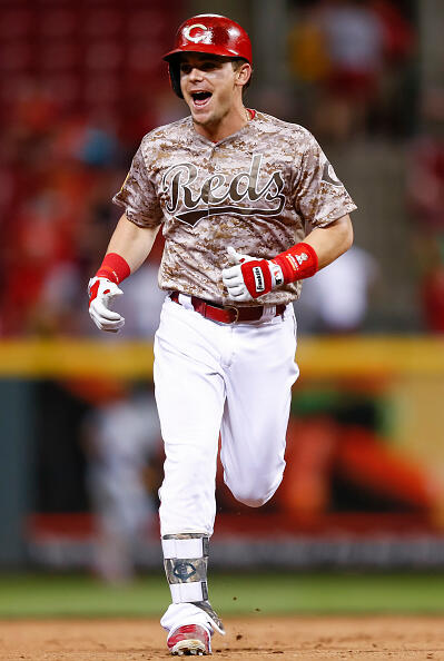 CINCINNATI, OH - MAY 06: Scooter Gennett #4 of the Cincinnati Reds runs the bases after hitting his fourth home run of the game in the eighth inning against the St. Louis Cardinals at Great American Ball Park on June 6, 2017 in Cincinnati, Ohio. (Photo by Michael Hickey/Getty Images)