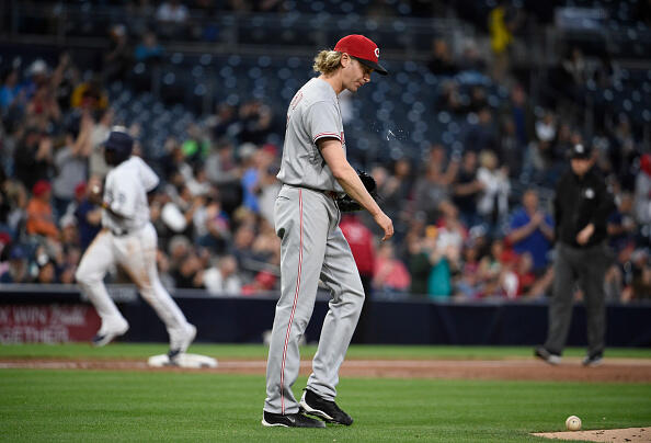 SAN DIEGO, CA - JUNE 12: Bronson Arroyo #61 of the Cincinnati Reds looks down after giving up a two-run home run during the second inning of a baseball game against the San Diego Padres at PETCO Park on June 12, 2017 in San Diego, California. (Photo by Denis Poroy/Getty Images)