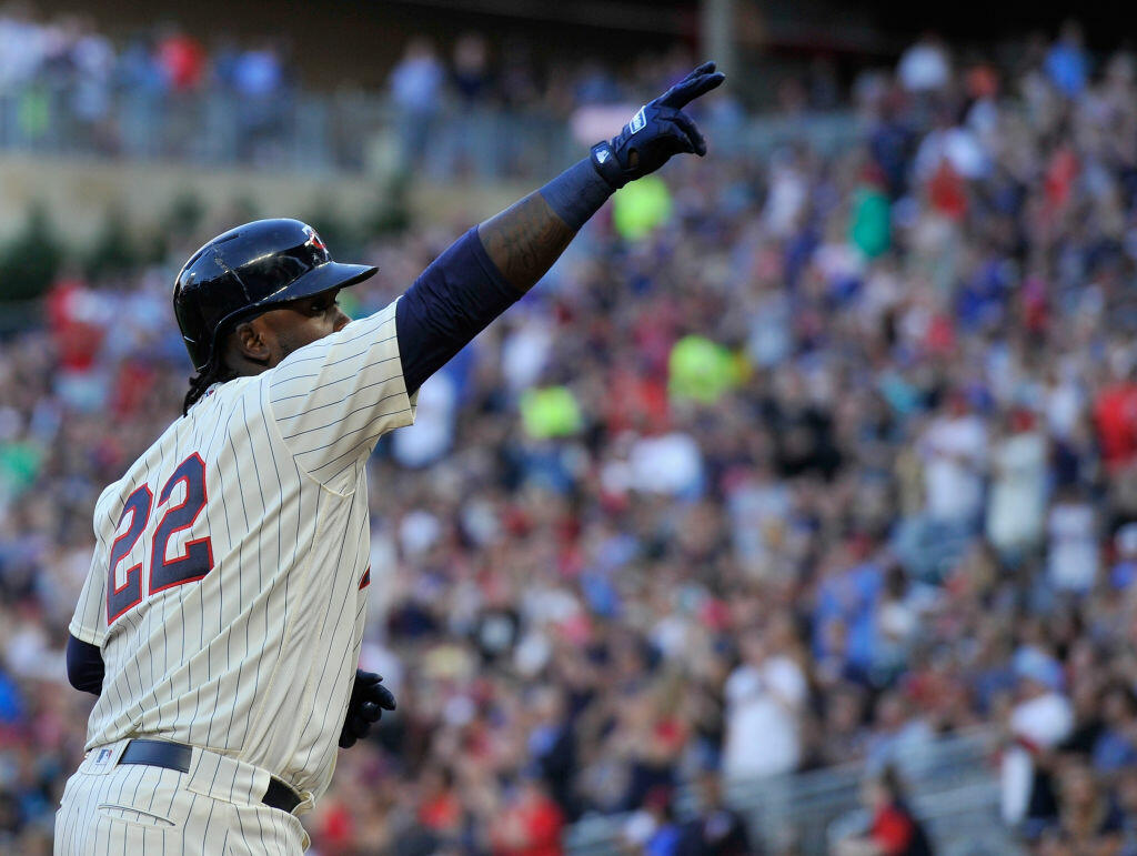 MINNEAPOLIS, MN - JUNE 21: Miguel Sano #22 of the Minnesota Twins celebrates a solo home run against the Chicago White Sox during the third inning of the game on June 21, 2017 at Target Field in Minneapolis, Minnesota. (Photo by Hannah Foslien/Getty Images)