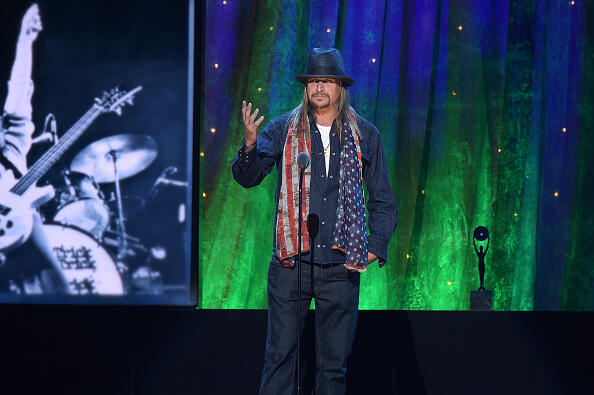 NEW YORK, NEW YORK - APRIL 08:  Kid Rock inducts Cheap Trick at the 31st Annual Rock And Roll Hall Of Fame Induction Ceremony at Barclays Center on April 8, 2016 in New York City.  (Photo by Theo Wargo/Getty Images)