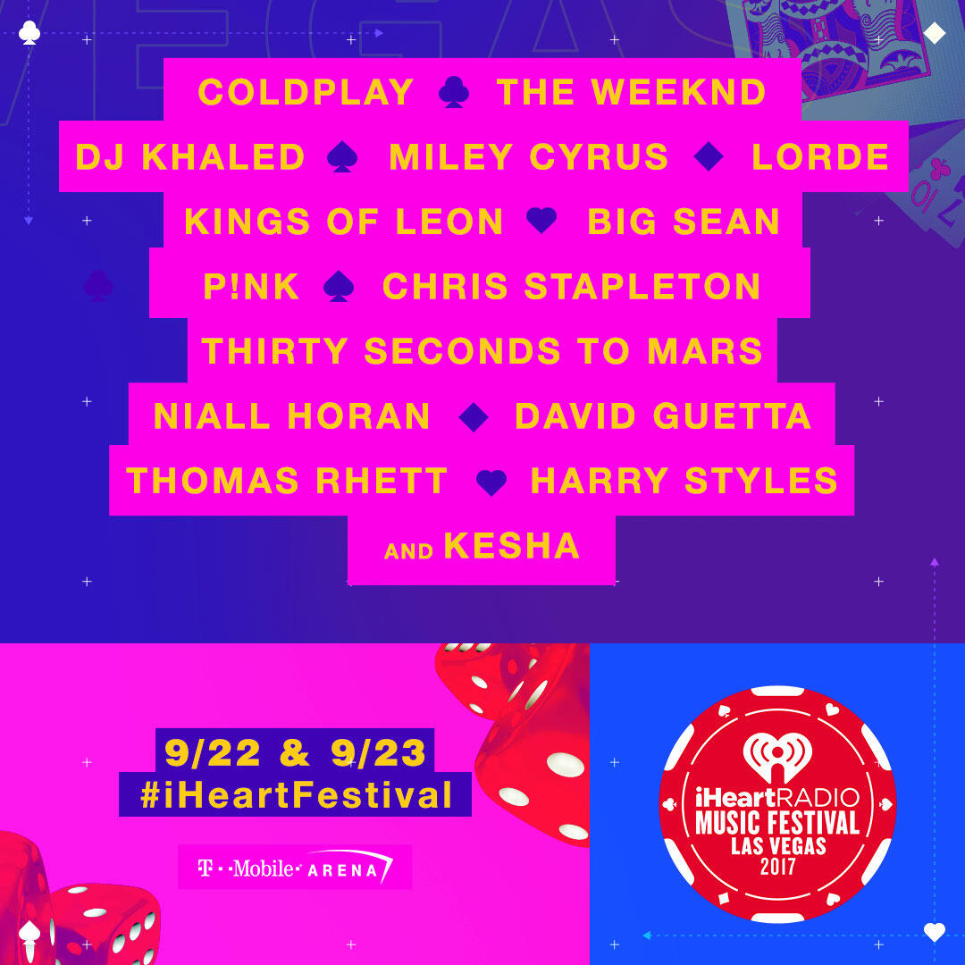 Lineup for our 2017 iHeartRadio Music Festival on September 22-23, 2017 at the T-Mobile Arena in Las Vegas, NV