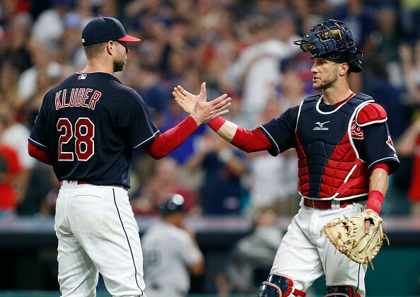 Kluber and Gomes by David Maxwell/Getty Images