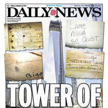 Racist graffiti uncovered at World Trade Center site.