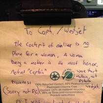 PHOTO: Sexist Note Left for Female Pilot