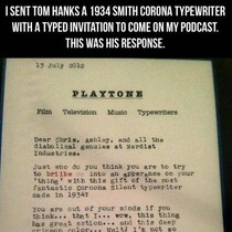 This is why Tom Hanks is AWESOME! He wrote this to ....