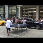 Usher Stops NYC Traffic to Play Ping Pong