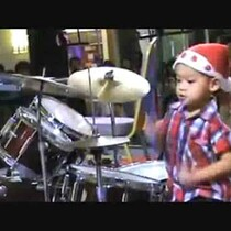 4 Year Old Boy Rocks The Drums!