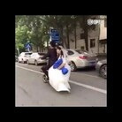 Bride falls off Scooter and Husband Never Looks Back!