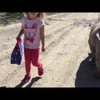 Little Girl Strolls With Baby Rhino