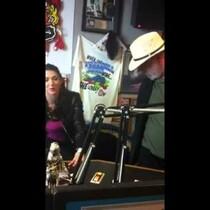 Tim Wilson in WKQQ Studios meeting TV star Taya Parker