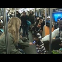 A Ventriloquist Uses His Dummy To Pick Up Women on a New York Subway!