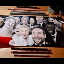 Check This Out! An Artist Drawing The Oscar 2014 Selfie! Amazing!