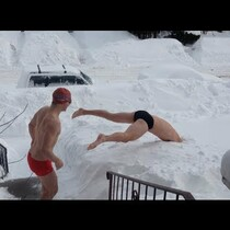 This winter has been horrible and it's making people do crazy things. Take these two intelligence-impaired Minnesota guys. They thought they were onto something big when they invented the sport of snow swimming.