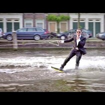 Wakeboarding In A Tuxedo