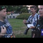 Race activist  tries to turn a vigil for Orlando victims into a black/white race issue.