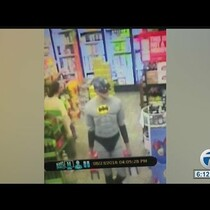 Man dressed as Batman/Captain America steals beer!