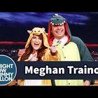 Meghan Trainor Gives Jimmy a Dinosaur Onesie