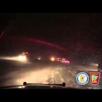 Two semis drive off I-94 in Minnesota Winter Storm