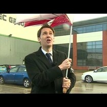 A BBC reporter loses a fight with the wind.