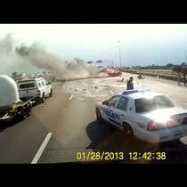 Watch: Trucker Saves Family From Crash and Explosion