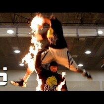 Dunking over a man on fire and burning the net