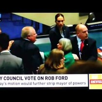 Video:  Toronto Mayor Rob Ford bowls over another (female) councilman at Monday's meeting