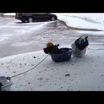 Snow Fun Day: Dad Takes Kids On A 3-Car Laundry Basket Sled Ride