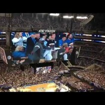 Father & Son Dance to 'Happy' on the Jumbotron!!