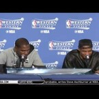 """Shade? Russell Westbrook Laughs When Asked If Stephen Curry Was An Underrated Defender. KD says """"he doesn't guard the best point guards"""""""