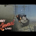 Guillermo Tries The US Bank Tower's Glass SKYSLIDE On 'Kimmel' (WATCH)