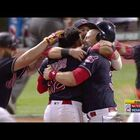 Indians Celebrate Lindor's Walk-Off Hit Against The Nationals