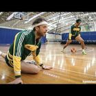 Patty Mills plays against Australian comedians in shooting game