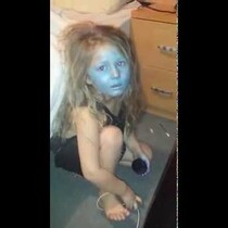 Adorable Toddler Turns Herself into a Smurf