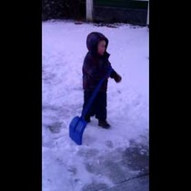 Kid Shoveling Snow Yells