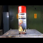 What happens when you crush a small fire extinguisher with a hydraulic press?